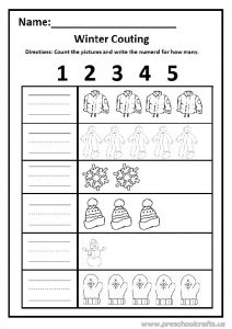 Winter count the pictures and write the numeral worksheet 1-2-3-4-5