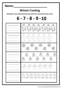 Winter count the pictures and write the numeral worksheet 6-7-8-9-10