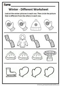 Winter different worksheet preschool and kindergarten
