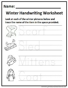 Winter handwriting worksheet preschool and kindergarten