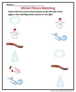 Winter materials matching worksheet for preschool and kindergarten