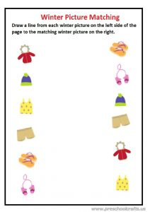 Winter materials pictures matching worksheet for preschool and kindergarten