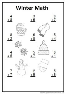 Winter math worksheet preschool and kindergarten