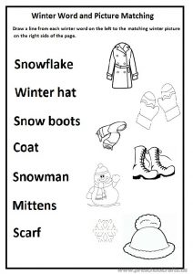 Winter word and picture matching worksheet and preschool and kindergarten