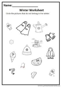 Winter worksheet for preschool free printable