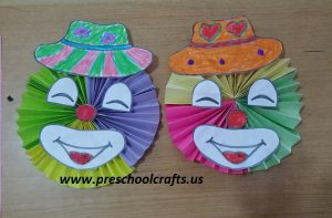 kindergarten smile clown craft idea
