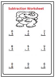 Beginner Subtraction Worksheet for Kindergartner