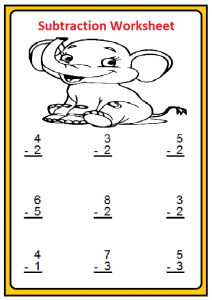 Beginner Subtraction Worksheet for Kindergartners