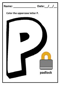 Color sheet the uppercase letter P for preschool and kindergarten