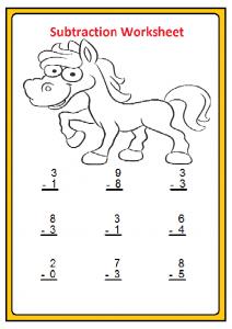 Free Beginner Subtraction Worksheet for 1'st Grade
