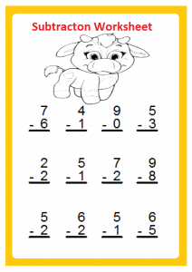 Free Beginner Subtraction Worksheet for 1st Grade