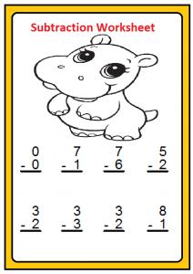 Free Beginner Subtraction Worksheet for First Grade