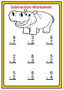 Free Printable Subtraction Worksheet for 1'st grade
