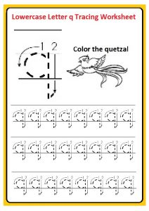 Lowercase letter q tracing worksheet for preschool, kindergarten, and 1st grade