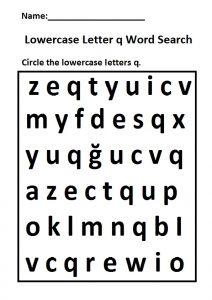 Lowercase letter q word search worksheet for preschool, kindergarten and 1st grade