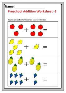 Preschool Basic Addition Worksheet 3 Free Printable