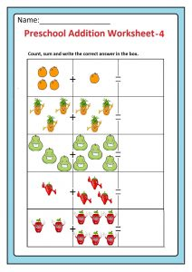 Preschool Basic Addition Worksheet 4 Free Printable