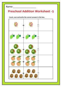 Preschool Basic Addition Worksheet 5 Free Printable