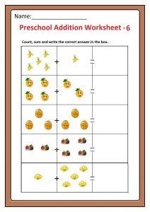 Preschool Basic Addition Worksheet 6 Free Printable