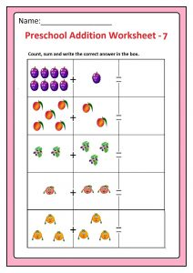 Preschool Basic Addition Worksheet 7 Free Printable