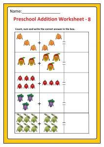 Preschool Basic Addition Worksheet 8 Free Printable