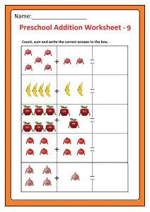 Preschool Basic Addition Worksheet 9 Free Printable