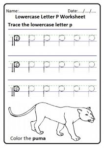 Trace the lowercase letter p worksheet for preschool and kindergarten