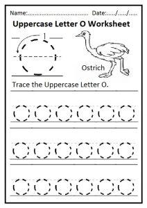 Uppercase Letter O Tracing Worksheet for Preschool and Kindergarten