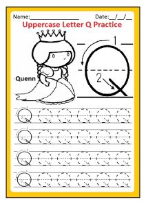 Uppercase letter Q practice worksheets free printable