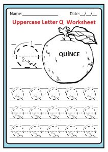 Uppercase letter Q tracing worksheet for preschool, kindergarten, 1st grade