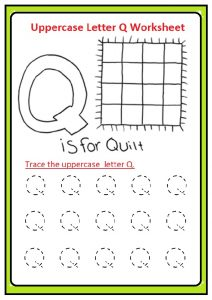Uppercase letter Q tracing worksheet for preschool, kindergarten, 1st grade quenn colouring