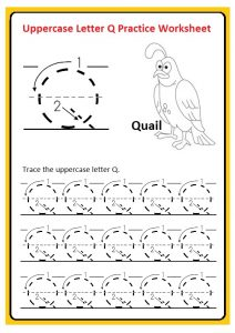 Uppercase letter Q tracing worksheet for preschool, kindergarten, and 1st grade