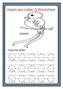 Uppercase letter Q tracing worksheet free printable
