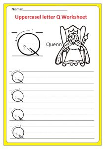 Uppercase letter Q writing worksheet for preschool, kindergarten, 1st grade