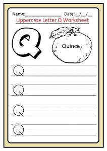 Uppercase letter Q writing worksheet for preschool, kindergarten and 1st grade