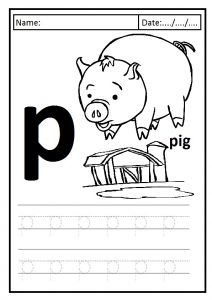 Write the lowercase letter p is for pig printables worksheet for preschool and kindergarten
