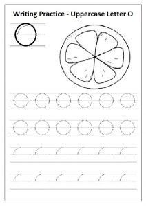 Writing practice uppercase letter O worksheet