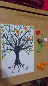 kids mandarin furit diy craft idea