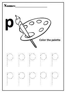 lowercase letter p worksheet for preschool and kindergarten