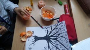 mandarin tree art craft for kids
