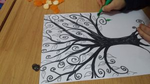 preschool mandarin tree craft activity