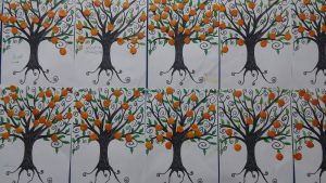 preschoolers orange tree bulletin board