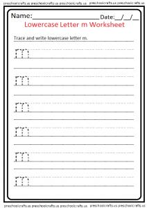 Lowercase Letter M Trace Worksheet for Kindergarten and Preschool