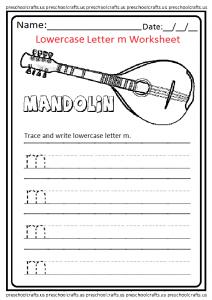 Lowercase Letter M Worksheet for Kindergarten and Preschool
