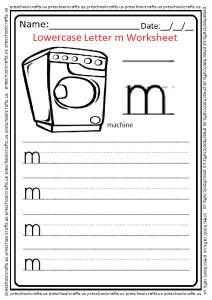 Lowercase Letter M Write Worksheet for Kindergarten and Preschool