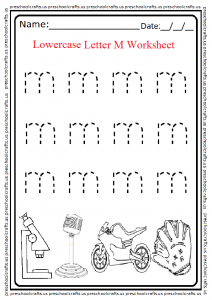 Lowercase Letter m Trace Worksheet for Preschool and Kindergarten