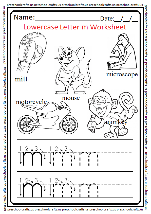 Lowercase Letter m Worksheets