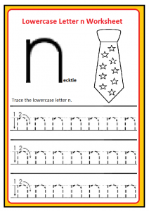 Lowercase Letter n Trace Worksheet for Kindergarten and Preschool