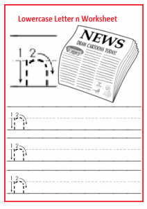 Lowercase Letter n Trace Worksheet for Kindergarten and Preschooler