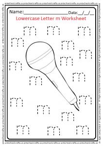 Lowercase M Trace Worksheet for Kindergarten and Preschool